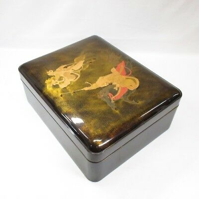 G785: Real old Japanese lacquered hand box of wonderful MAKIE of SAMURAI design
