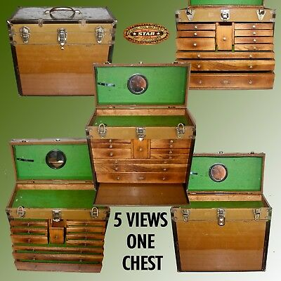 11 Drawer Machinist Chest By National Tool & Chest Co. With Steel Clad Wood Case
