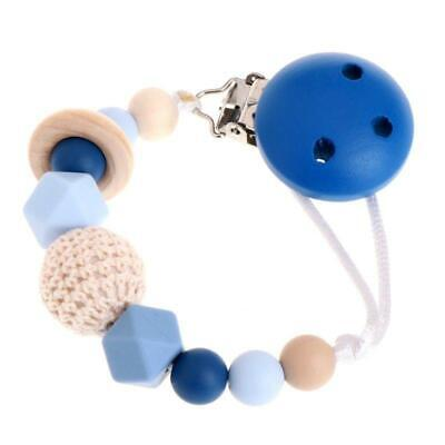 Wooden Bead Dummy Clip Holder Clips Soother Chains Baby Teething Toy 6N