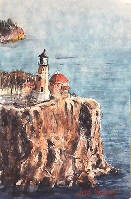 "ORIGINAL Watercolor Painting Lighthouse On The Cliff  Art 6"" x 9"" NOT A PRINT"