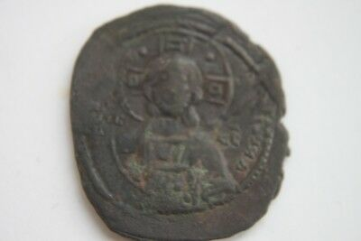 LARGE ANCIENT BYZANTINE BRONZE  FOLLIS COIN of CHRIST 11/12th CENTURY AD GOD