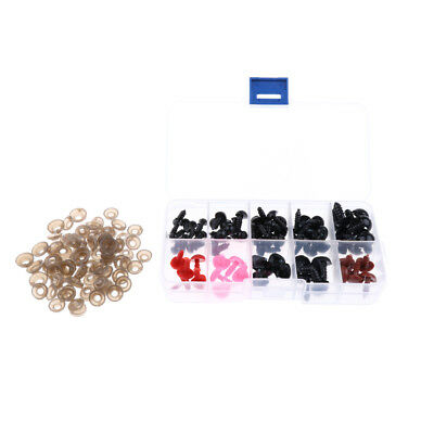 75PCS 6-12mm Assorted Sizes Plastic Safty Eyes Noses for Teddy Bear Doll DIY