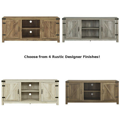 TV Stand Rustic Entertainment Center Console Media Cabinet Table Barnwood  Doors