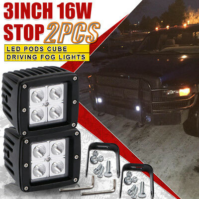 2X 3'' 16W Jeep Wrangler Spot LED Work Light Square Cube Pods Offroad Fog 4WD