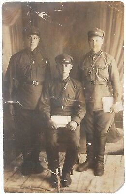 USSR 3 Soviet OFFICERs with documents Photo NKVD wwII WW2 Russian RED ARMY Russi