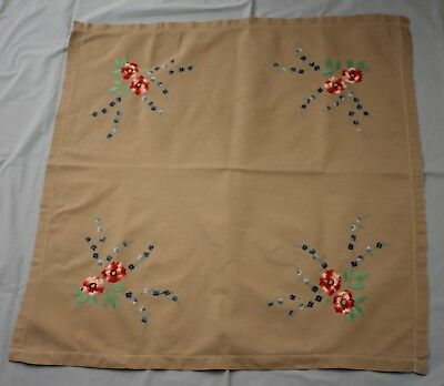 Small Square Vintage Embroidered Grey Table Cloth