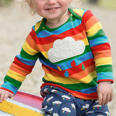 Kids Girls Baby Todder Clothes Rainbow Striped Tops Blouse Jumper T-shirt Tee
