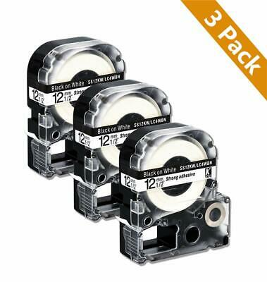 3PK LC-4WBN9 SS12KW Label Tape 12mm Compatible for Epson K-Sun Black on White