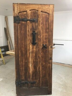 Large Solid Oak Front Door Antique Old Period Wood Cast Iron Reclaimed Rustic