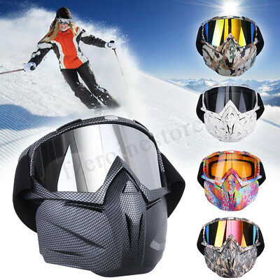 Motorcycle Open Face Mask Shield Goggles Skiing Snow Glasses Off Road Dirt Bike