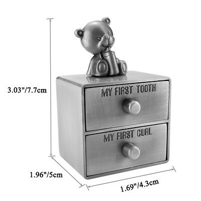 Metal Baby Milk Teeth Drawer First Curl Tooth Box Container Cute Bear Kids Gift