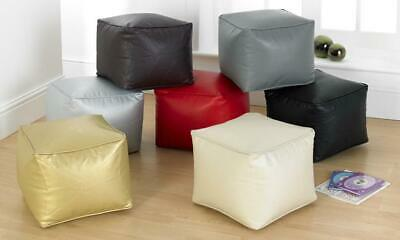 Luxury Faux Leather SMALL Bean Bag Footstool CUBE pouffe  Fully Filled 7 Colours