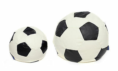 Kids Childrens Faux Leather Football Filled Bean Bags Black & Cream gaming chair