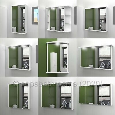 Bathroom Single/Double Wall Mirror Cabinets Illuminated Shaver Socket All Sizes