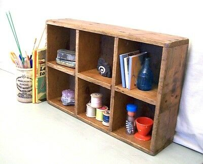 Old Vintage Wooden Box Pigeon Holes, Antique Curio Rustic Display Shelf Shelving