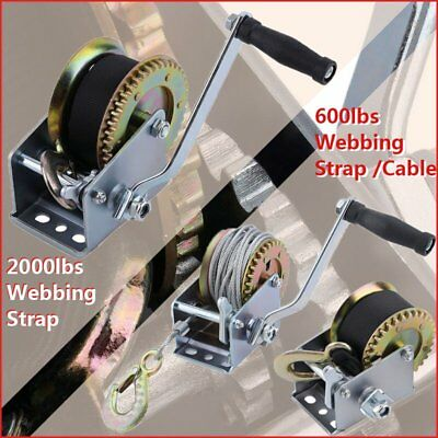 2000lbs Manual Hand Winch Boat Trailer Caravan Cable Webbing Strap Marine Pull