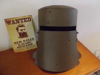 Ned Kelly full size metal helmet with wanted sign & bullet marks bushranger