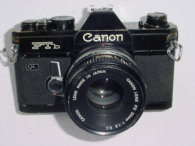 Canon FTb QL 35mm Film SLR Manual Camera w/ Canon 50mm F/1.8 FD S.C. Lens -Black
