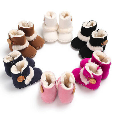 UK Infant Baby Toddler Warm Boots Kids Boys Girls Winter Snow Fur Shoes 0-18M AB
