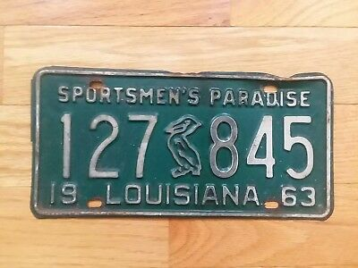 Vintage 1963 LOUISIANA Pelican License Plate