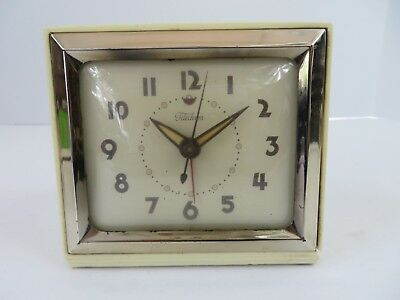 Vtg Telechron Alarm Clock Model 7H09 Ivory Cut Cord AS IS for Parts Repair #8391
