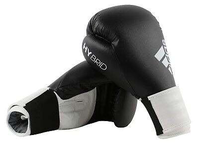 Adidas Hybrid 100 Boxing Gloves Black White Sparring 8 10 12 14 16 oz Training