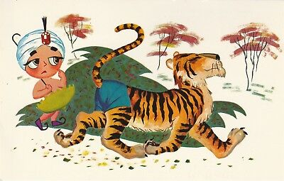 Sambo's Restaurant Picture Story Series Postcard Tiger Steals Blue Pants