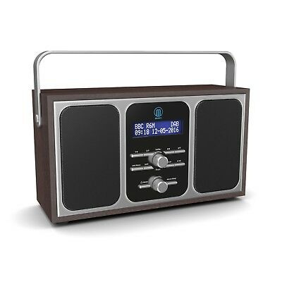 Majority Girton Stereo DAB+ DAB FM Digital Portable Radio Alarm Clock Walnut