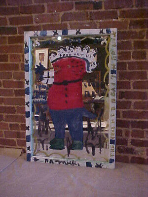R.A. Miller outsider folk artist painting on mirror. 7 headed Beast.
