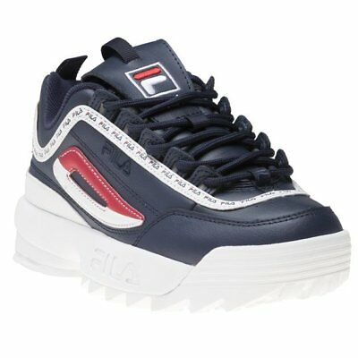 7258139c5e4d21 New WOMENS FILA NAVY WHITE Disruptor Ii Premium LEATHER Sneakers CHUNKY  SNEAKERS