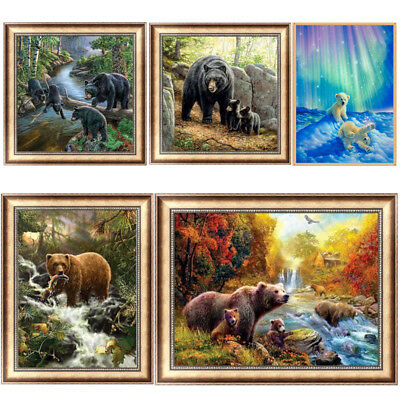 Brown Bear DIY 5D Diamond Painting Embroidery Cross Crafts Stitch Home Decor