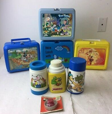 Vintage Lunchbox And Thermos Lot Of 4 Miss Piggy, Mickey Mouse, Etc.