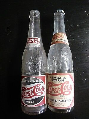 2 Double Dot Pepsi Cola Botttles 1 Paper Label & 1 syrup Embossed Pepsi bottle