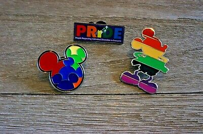 Disney Trading Pin Mickey Mouse Gay Pride Rainbow Lot of 3 Pins