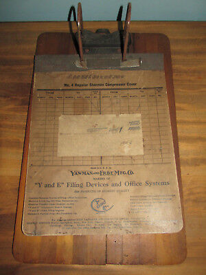 "Antique YAWMAN & ERBE MFG. CO. WOODEN CLIPBOARD Rochester NY 14 1/2"" x 9 1/4"""