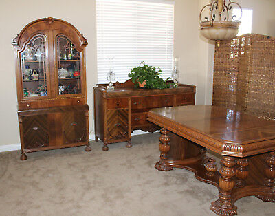 Antique Early 1900's Dining Room Set Table Chairs China Cabinet & Server Buffet