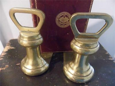 Pair Unusual Vintage Solid Brass Bell Weight Bookends Kitchen Study Book Display