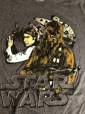 3a960bb98 STAR WARS Men Gray Hans Solo Chewbacca Graphic Vintage Top T Shirt Mad  Engine XL