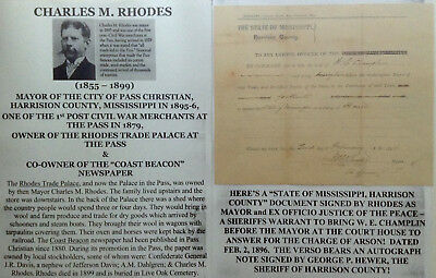 1890s MAYOR PASS CHRISTIAN MISSISSIPPI RHODES TRADE PALACE COURT DOCUMENT SIGNED