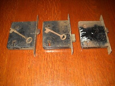 Lot of Three Vintage Mortise Door Locks - Two w/ Keys