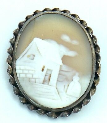 Womens Silver Worn Cameo Cracked Cottage House Brooch 1.75in 10.8g H230