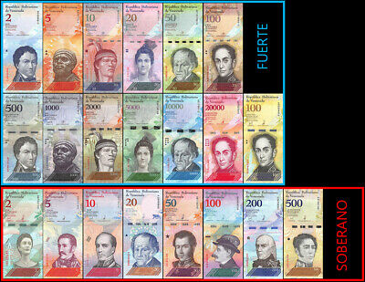 Venezuela 2 - 100,000 Bolívar 2 - 500 Soberano 21 Pieces Full Set, 2007-18,UNC