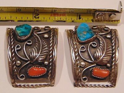 Old Pawn Navajo Sterling Silver Coral & Turquoise Watch Band Tips Signed Rn