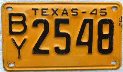 Antique 1945 Single Texas Automobile License Plate BY2548 Yellow & Black
