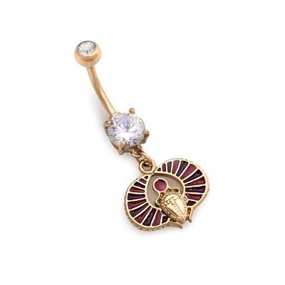 "14g 3/8"" PVD Gold Egyptian Scarab Dangle Belly Button Ring"