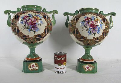 Meiji Period Pair of Japanese Victoriana Nippon Porcelain Mantle Urns Vases yqz