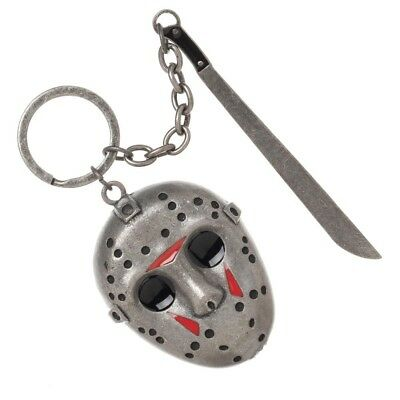 Friday The 13th Hockey Mask Machette Metal Keychain Jason Voorhees Horror Movie