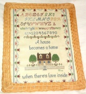"""Handmade Wicker Framed Sampler """"a House Becomes A Home When There's Love Inside"""""""