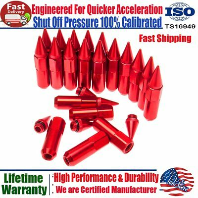20X Red M12X1.5 Cap Extended Spiked Tuner Aluminum 60mm Wheels Rims Lug Nuts US
