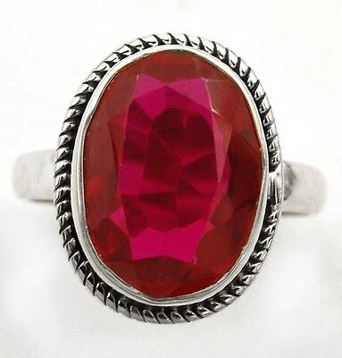 6CT Rubellite Tourmaline 925 Solid Genuine Sterling Silver Ring Jewelry Sz 8.5